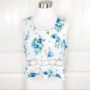 Papaya Clothing Timing White Blue Floral Crop Top